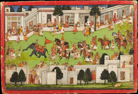 Indian Miniature Art - Pahari Style - Marriage Procession In A Bazaar Mandi