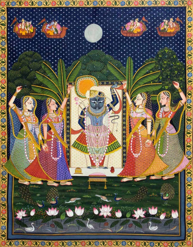 Indian Art  Pichwai Shreenath Ji Sharad Poornima