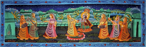 Indian Art  Radha Krishna Dancing Under The Stars  Rajasthani Painting