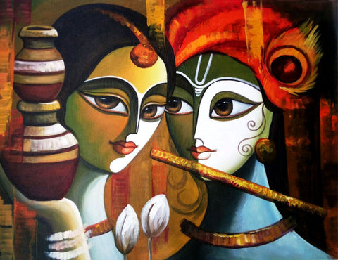 Indian Art - Radha Krishna Painting 2 - Large Art Prints