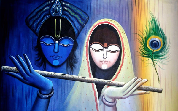 Indian Art - Radha Krishna Painting - Canvas Prints