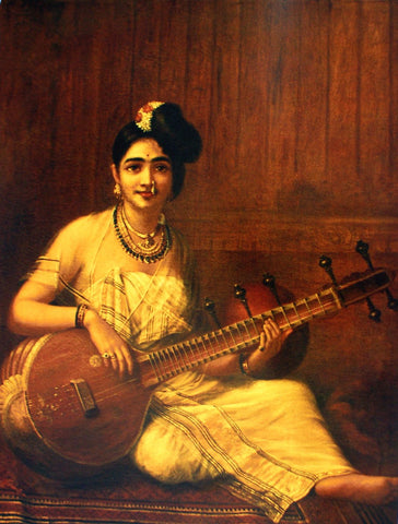 Malabar Lady with Veena - Canvas Prints
