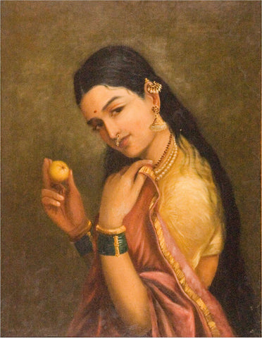 Woman Holding a Fruit - Framed Prints