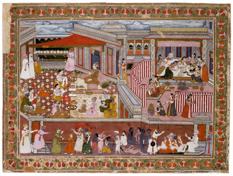 Indian Miniature Art - Mughal Painting - Birth in a Palace