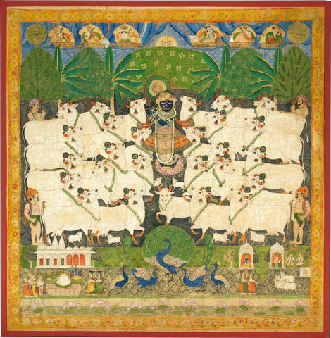 Indian Miniature Art - Festival of the Cattle (Gopashtami)