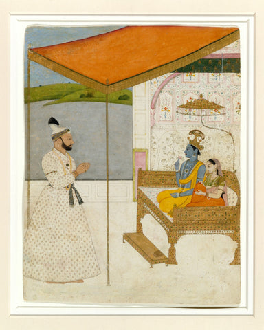 Indian Miniature Art - Rajput Painting - Raja Balwant Singh Revering Krishna and Radha