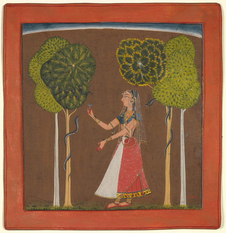 Indian Miniature Art - Rajput Painting - Sita In Garden