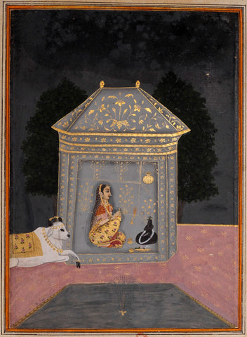Indian Miniature Art - Rajput Painting - Lady Worshipping Shiva Linga