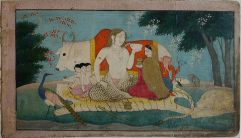 Indian Miniature Art - Pahari Style - The Holy Family Of Shiva Parvati Skanda And Ganesha With Vahanas by Kritanta Vala