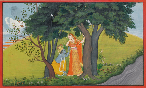 Indian Art - Vintage Kangra Painting - Gita Govinda Krishna c1750 - Canvas Prints