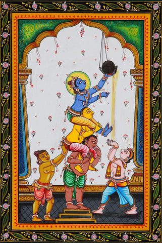 Indian Art - Vintage Painting - Baby Krishna Damodar Stealing Butter - Makhan Chor