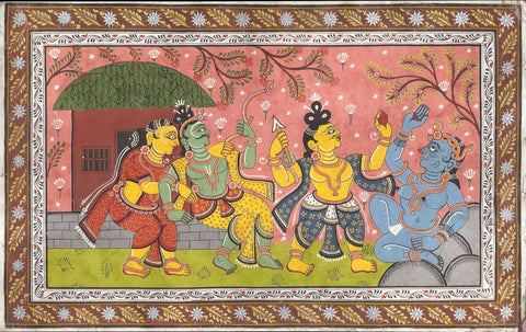 Indian Art from Ramayan -  Rajasthani Painting - Rama And Sita