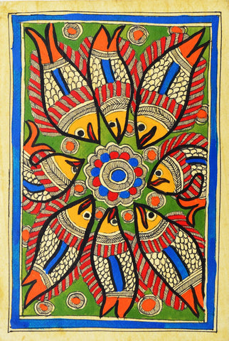 Indian Miniature Art - Mithila Style - Fish by Kritanta Vala