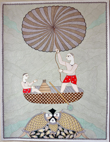 Indian Miniature Art - Mithila Style - Fishermen by Kritanta Vala