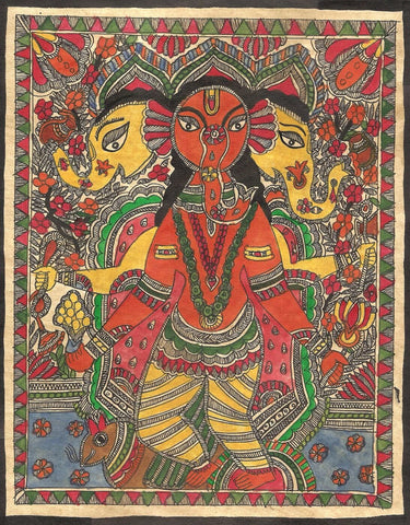 Indian Miniature Art - Madhubani Painting - Lord Ganesha by Kritanta Vala
