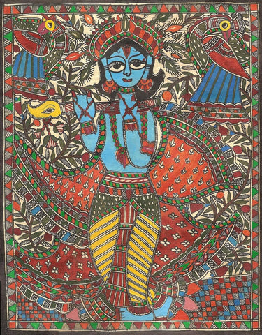 Indian Miniature Art - Madhubani Painting - Lord Krishna by Kritanta Vala
