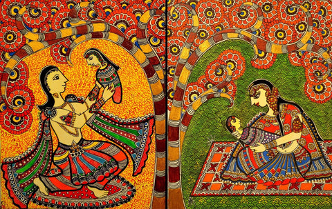 Indian Miniature Art - Madhubani Painting - Mother And Child by Kritanta Vala