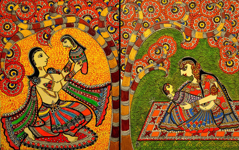 Indian Miniature Art - Mithila Style - Mother And Child by Kritanta Vala