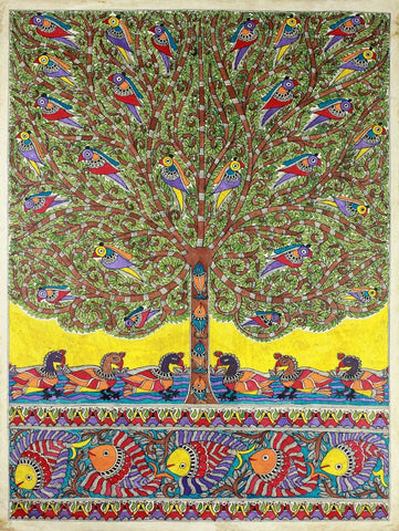 Indian Miniature Art - Madhubani Painting - One With Nature by Kritanta Vala