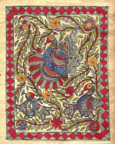 Indian Miniature Art - Madhubani Painting - Peacocks by Kritanta Vala