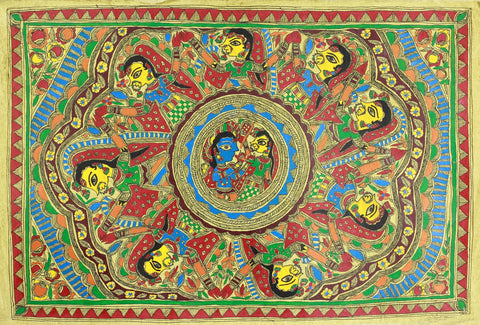 Indian Miniature Art - Mithila Style - Radha And Krishna by Kritanta Vala