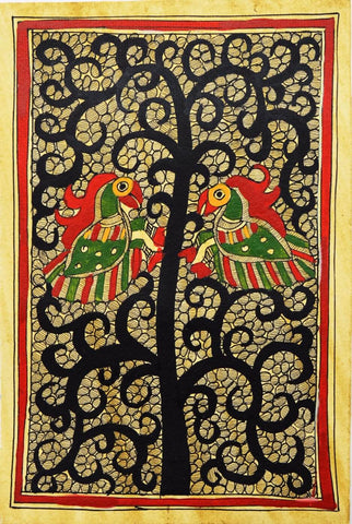Indian Miniature Art - Madhubani Painting - Tree Of Prosperity by Kritanta Vala