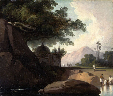 Indian Landscape with Temple - George Chinnery - c 1815 - Vintage Orientalist Painting of India by George Chinnery
