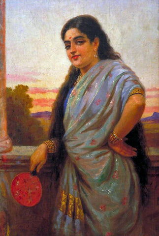Indian Masters - Raja Ravi Varma - Woman Holding A Fan by Raja Ravi Varma