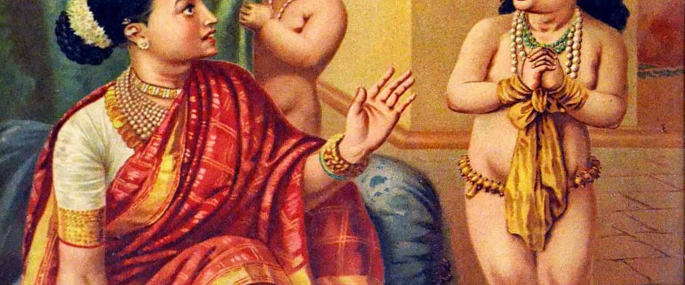 Indian Masters - Raja Ravi Varma - Yashoda With Krishna Vishwaroop Darshan - Oleograph Print by Raja Ravi Varma | Buy Posters, Frames, Canvas  & Digital Art Prints