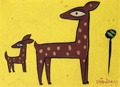 Indian Masters Art - Jamini Roy - Deer by Jamini Roy