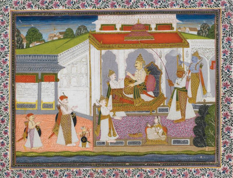 Indian Miniature Art - A Durbar scene depicting a Hindu Raja surrounded by his Courtiers, Deccan, circa 1800 by Tallenge Store