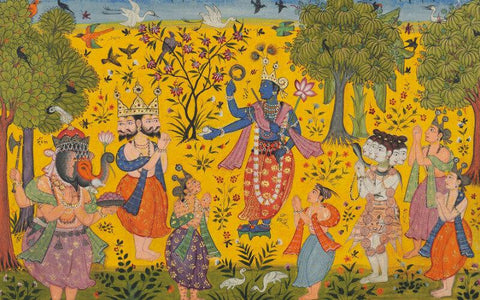 Indian Miniature Art - An Illustration to a Ragamala series Shankara Ragaputra of Megha raga