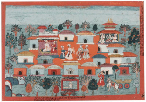 Indian Miniature Art - An illustration to the Bhagavata Purana King Janaka greets Balarama ca 1750