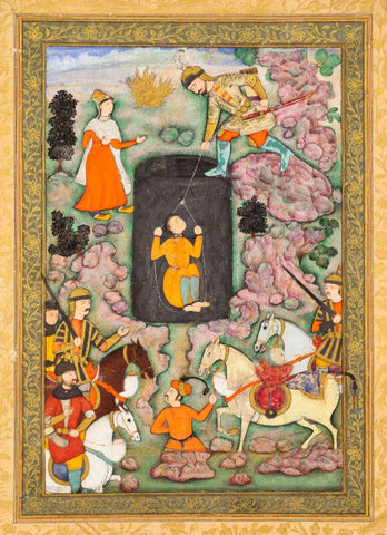 Indian Miniature Art - An illustration to the Shahnameh,  Akbar period Mughal India, circa 1600