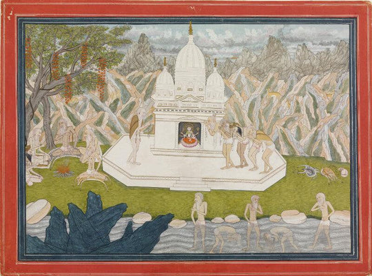 Indian Miniature Art - Ascetics before the Shrine of the Goddess by Tallenge Store | Buy Posters, Frames, Canvas  & Digital Art Prints