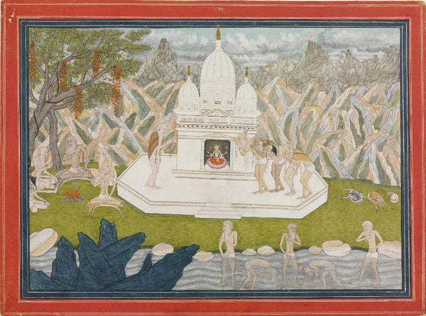 Indian Miniature Art - Ascetics before the Shrine of the Goddess - Art Prints