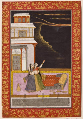Indian Miniature Art - Deccan School An illustration to a ragamala series Madhumadhavi Ragini, 1720