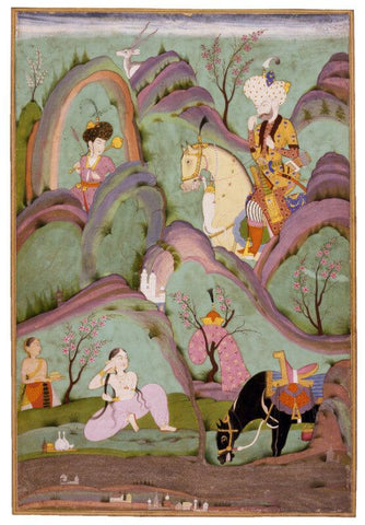 Islamic Miniature - Khusraw Beholding Shirin Bathing - Deccan, Hyderabad - c1700