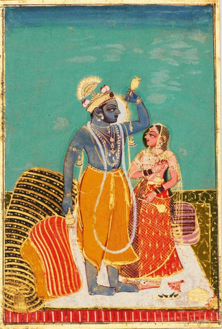 Indian Miniature Art - Krishna and Radha Standing on a Bed - Kota Style - Ramayan