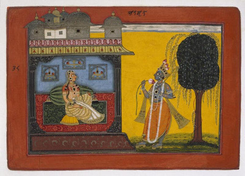 Indian Miniature Art - Krishna and Radha