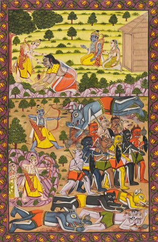 Indian Miniature Art - Lakshman cuts off the nose of Shurpanakha- Ramayana