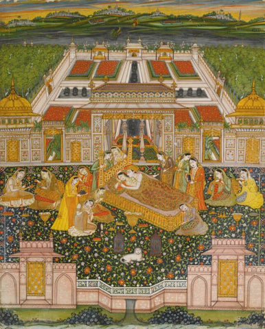 Indian Miniature Art - Lovers On A Terrace