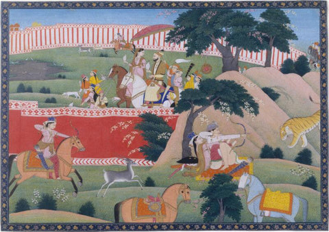 Indian Miniature Art - Pleasures of the Hunt  North India Punjab Hills Kangra