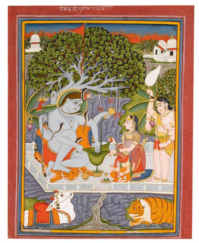 Indian Miniature Art - Shiva-Parvati and their family by Tallenge Store