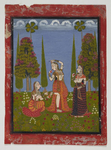 Indian Miniature Art - A lady gets a thorn removed from her foot, workshop in Mewer, Rajasthan, 1750 by Tallenge Store