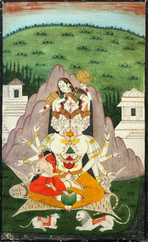 Indian Vintage Painting - Shiva Parvati Kartik (Skanda Murugan) and Ganesh