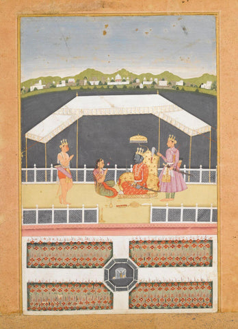 Indian Vintage Paiting - Ramayana - Hanuman offers respects to Rama - Rajput Painting - Bikaner - c1730