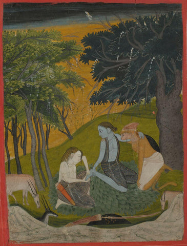 Indian Vintage Paiting - Ramayana - Lakshmana Pulls A Thorn From Ramas Foot