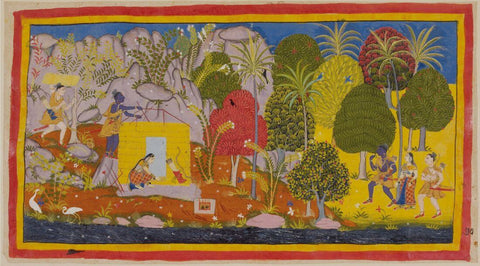 Indian Vintage Paiting - Ramayana - Rama Sita and Lakshman During Their Exile In The Forest - Rajput Painting - Mewar - c1640