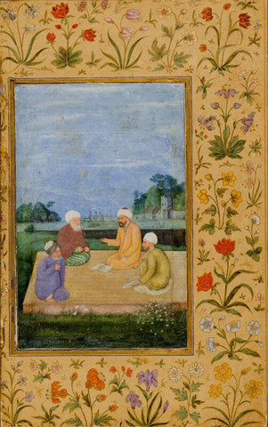 Islamic Miniature - A Discourse Between Muslim Sages - Mughal - c 1630
